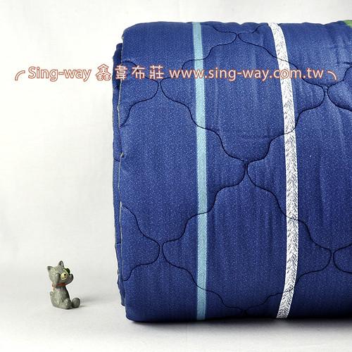 【限宅配】濃藍底細彩直條 簡約條紋 精梳棉鋪棉床品床單布料 B990081