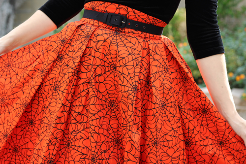 Pinup Couture Lolita Top in Black Velvet Laura Byrnes California Little Jun Skirt in Orange with Black Spider Web