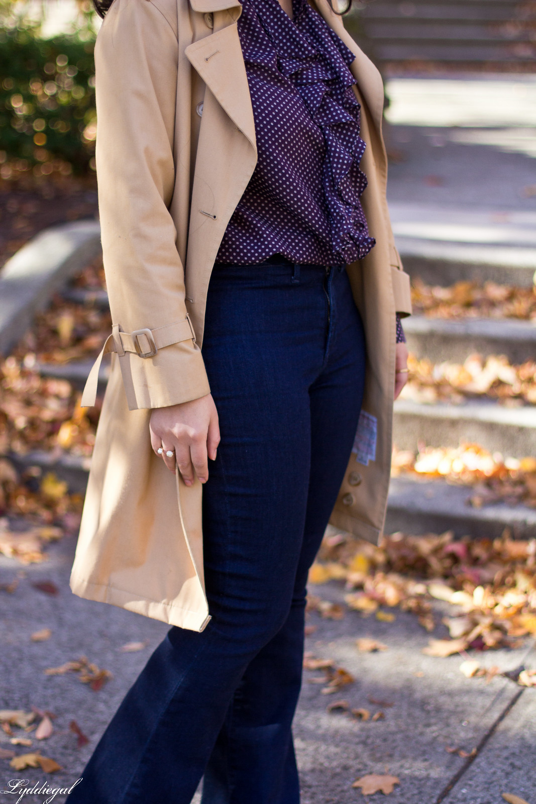 polka dot blouse, flared jeans, trench coat-2.jpg
