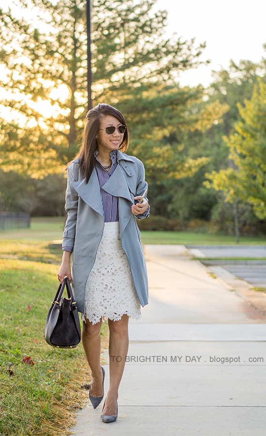 gray draped trench, navy striped top, white floral lace pencil skirt, gray tote, gray suede pumps