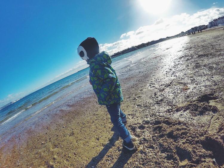 chilly beach stone skimming