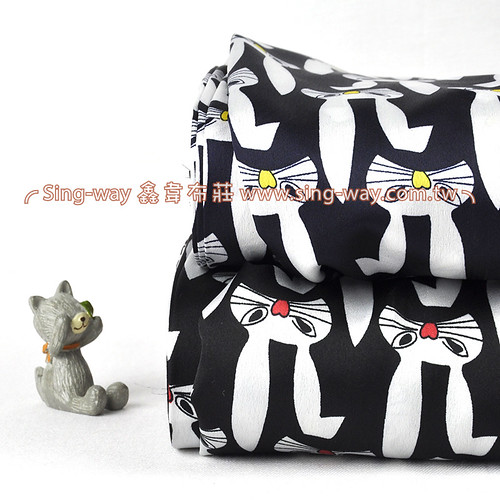 白兔 淘氣兔子 愛心 絲巾領巾 亮面 緞面服裝布料  CH790490