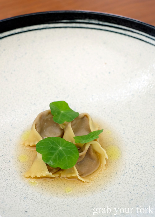 Mushroom agnolotti with rye dashi at LuMi Dining in Pyrmont Sydney