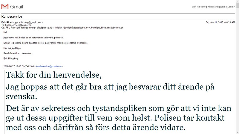 sendte en e-post til bonnier