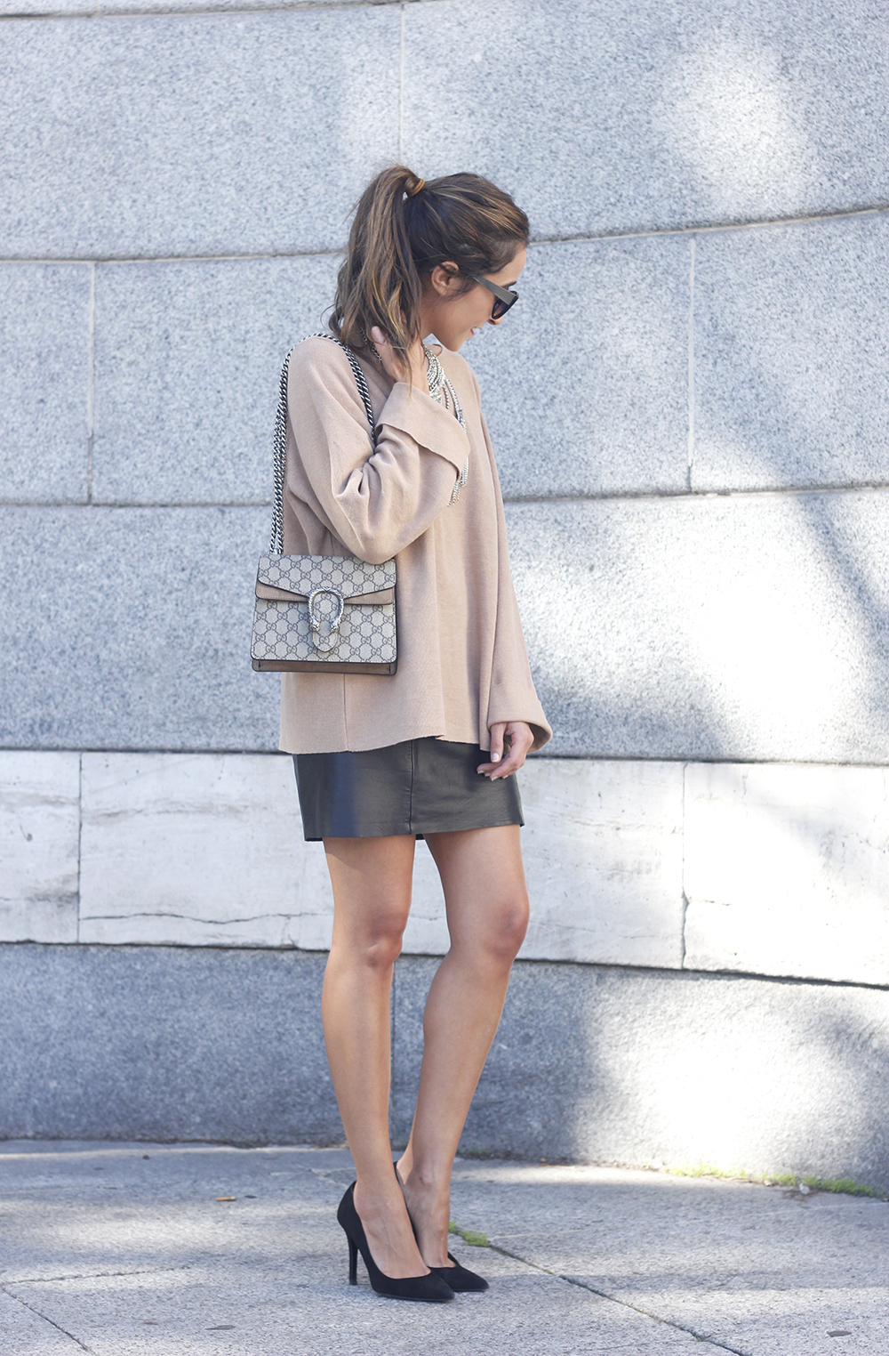 nude sweater leather skirt heels sunnies gucci bag fashion outfit style01