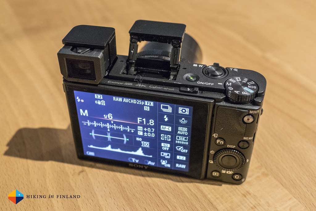 Sony RX100 IV with Flash & EVF open, from behind
