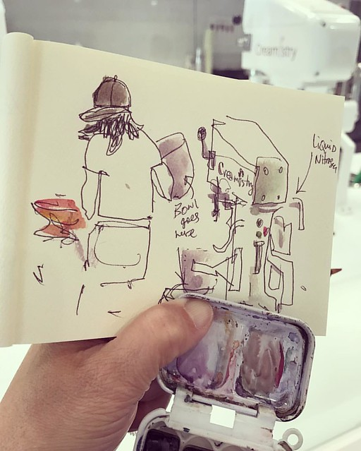 Drawing on a school field trip at the liquid nitrogen creamery - exciting to see the whole process! #sketchbook #drawingeverywhere #liquidnitrogen #creamery #creamistry #paloalto #downtown #universityave #icecream
