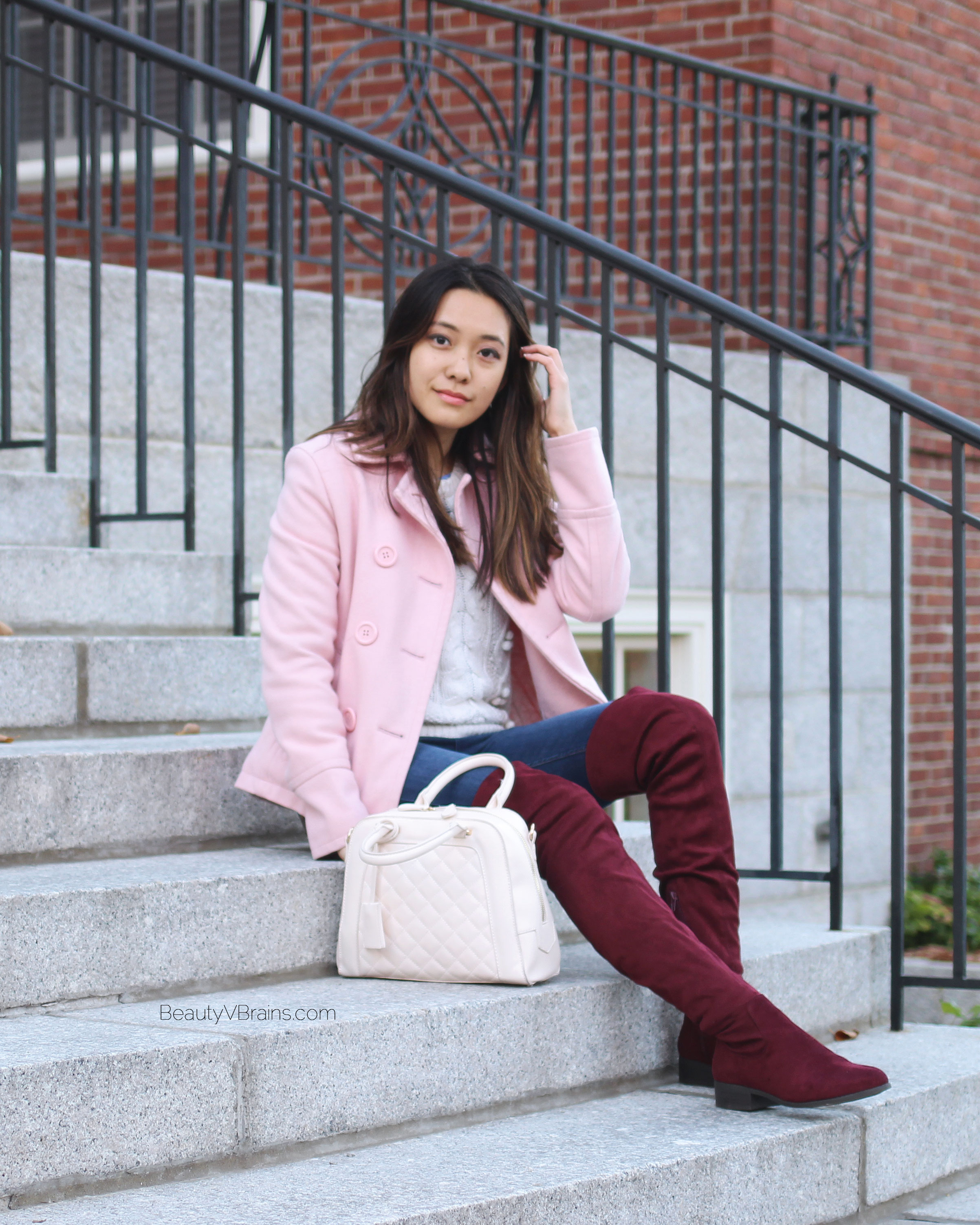 Pink quilted bag and plum OTK boots