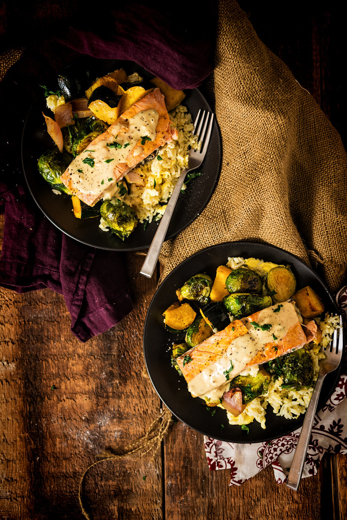 Seriously good comfort food recipe! Curry Roasted Salmon & Veggies with Tahini Sauce over Basmati