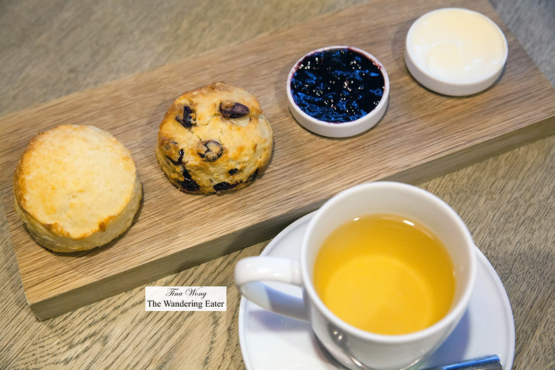 Plain scone, cranberry scone, blueberry preserves and clotted cream from the UK with No. 106 Dong Ding Special oolong tea