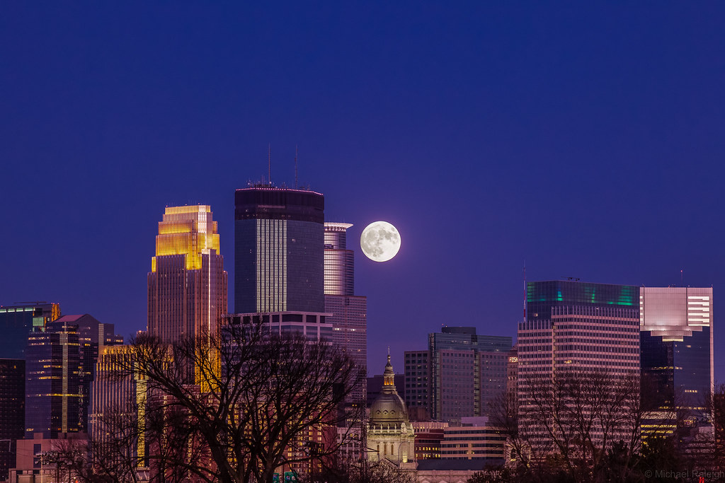 Supermoon over Minneapolis