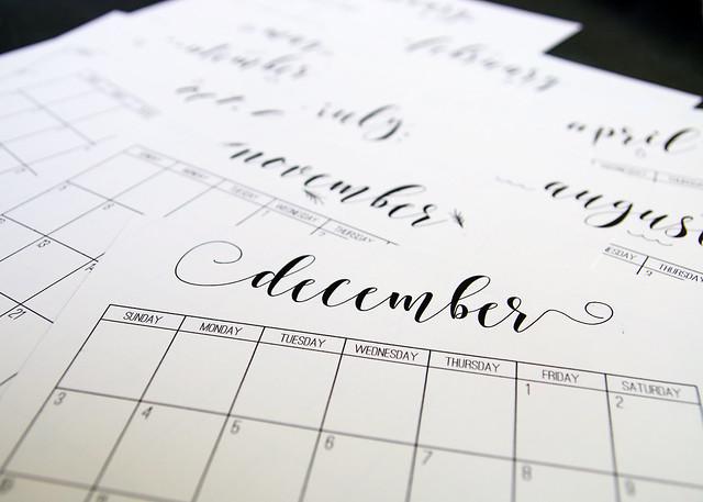 Scroll Printable Calendar Months