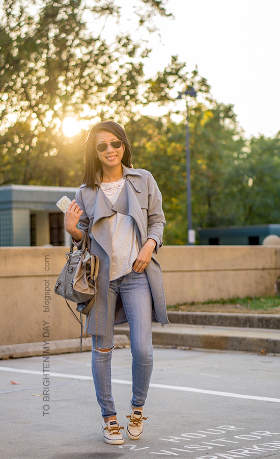 blue gray drape trench jacket, lace tee, lightwash distressed jeans, gray tote, canvas sneakers