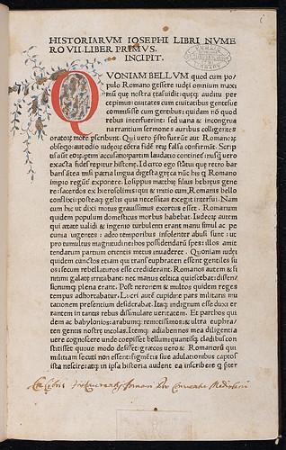 Josephus, Flavius: De bello Judaico - Penwork initial