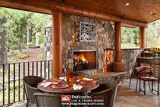 Custom Outdoor Space | Milled Log Home | PrecisionCraft Log Homes | by PrecisionCraft Log & Timber Homes