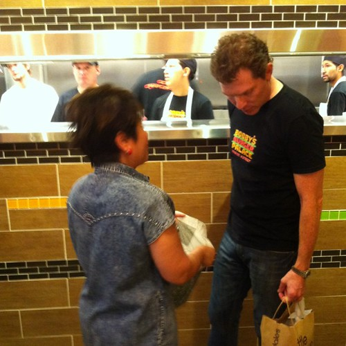 Bobby Flay chats with a customer at Bobby's Burger Palace | by MarieEOliver