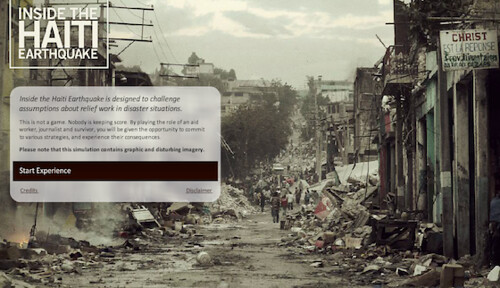 Screen Shot of the interactive web game Inside the Haiti Earthquake | by WITNESS.org