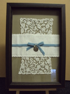Framed Wedding Posy - lace & bow | by bespokeframing