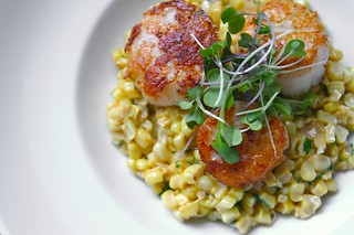 scallops with creamed corn & tarragon | by shutterbean