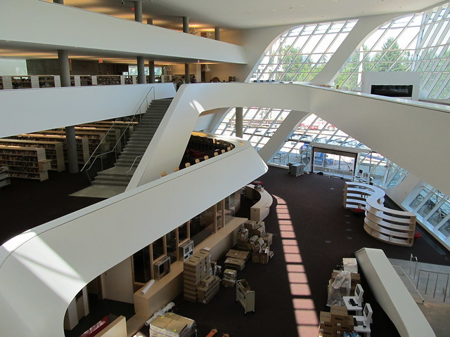 Birds eye view inside the new Surrey City Centre Library