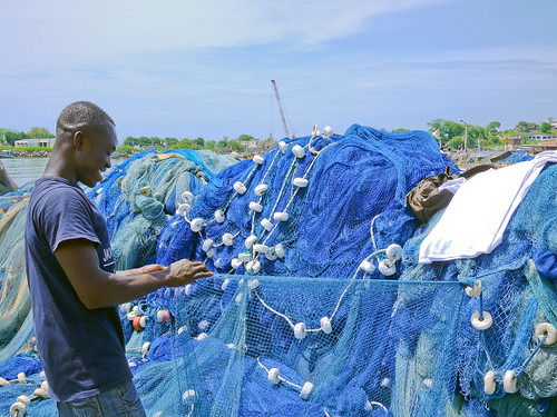 Inspecting the fishing nets, Africa. Photo by Cambria Finegold, 2010.