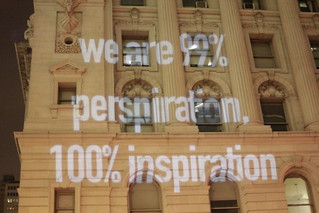 Another heroic wall projection of legendary greatness at Occupy Wall Street | by WarmSleepy