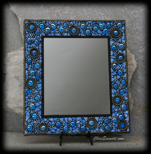 """Ooh La La"" Mosaic Mirror in Blue 