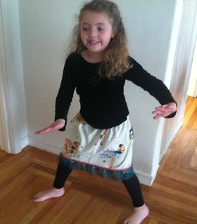 Maia dances in the party girl skirt I made. | by CoriKesler