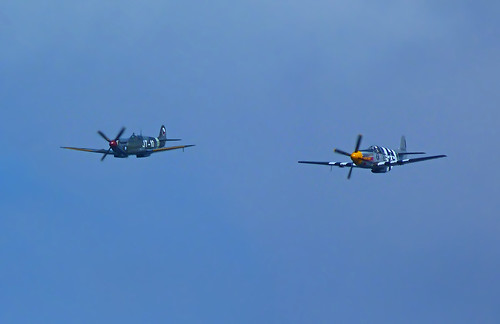 HFF Spitfire + P-51B Mustang in Formation over 2011 Seafair Saturday | by AvgeekJoe