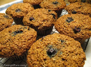 100% whole grain blueberry bran muffins made without processed sugar and bran cereal | by Farmgirl Susan
