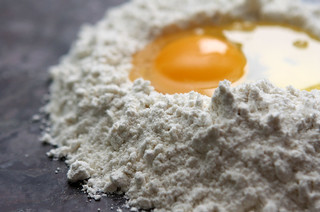 egg and flour for fresh pasta | by David Lebovitz