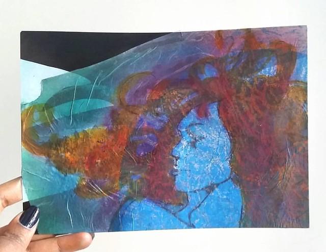 Made with one of last night's print. I call her Mystique #gelliprint #monoprinting #mixedmediaartist #mixedmedia #paint #oilpastels #ecoline #xmen #mystique #comicbookinspired #creativeexpression #creativitytakescourage