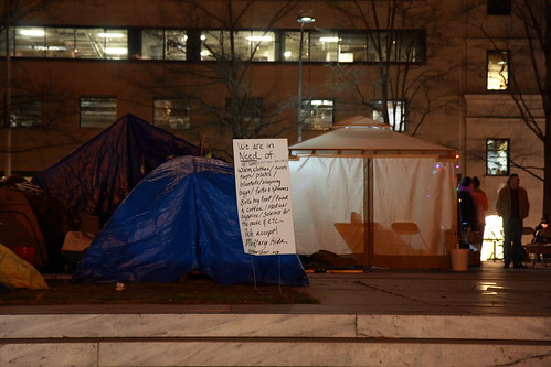 Occupy DC, McPherson Square at night | by fangleman