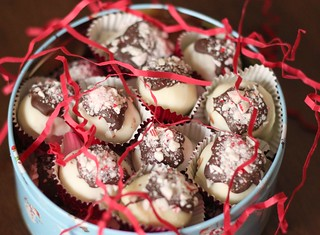 Peppermint Bark Cheesecake Truffles | by niftyfoodie