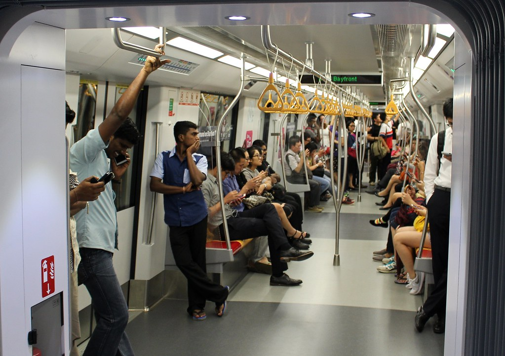 Singapore: Interior of Downtown line train