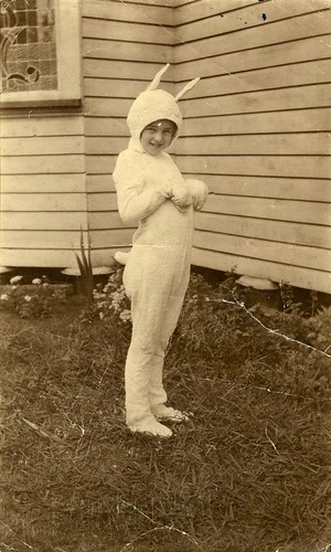 Charmian Bernays dressed in a rabbit costume | by State Library of Queensland, Australia