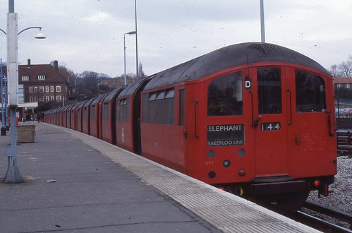 London Transport . Bakerloo Line . 1938 Tube Stock 11172 . Stanmore Station  , London . 01st-March-1979 .