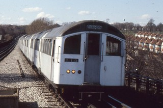 London Transport . 1959 Tube Stock 1016 . Approaching  Brent Cross Station . 23rd-March-1979 .