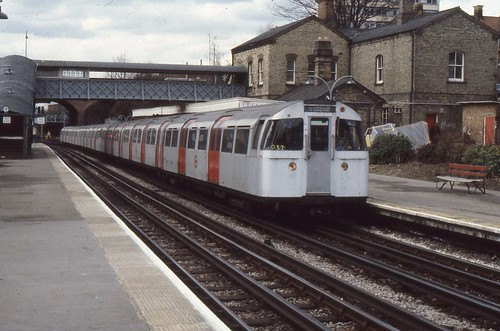 London Transport . 1972 Mark 2 Tube Stock  3541 . Finchley Central Station . 21st-March-1979 .
