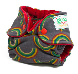 Stormy Rainbow Newborn Fitted Diaper with Crimson Cotton Velour | by thegoodmama.com