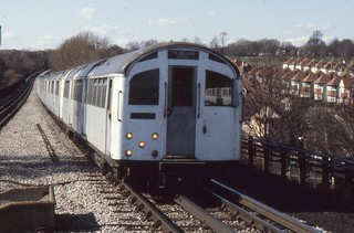 London Transport . 1956 Tube Stock 1007 . Approaching  Brent Cross  Station . 23rd-March-1979 .