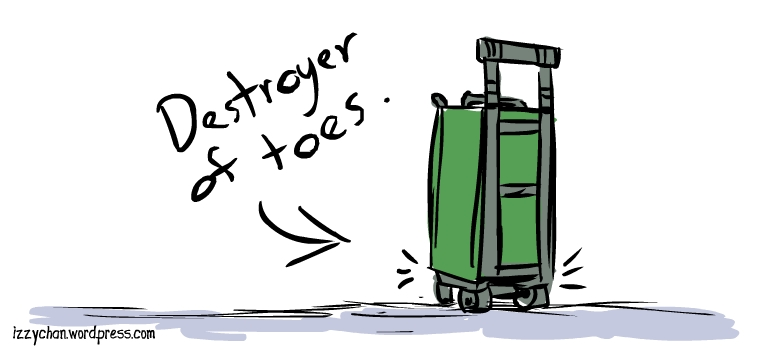 green luggage wheels destroyer of toes