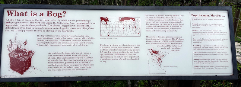 What is a bog? sign with several paragraphs, maps, and definitions of different types of wetlands