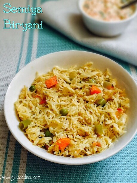 Semiya Biryani Recipe For Toddlers and Kids