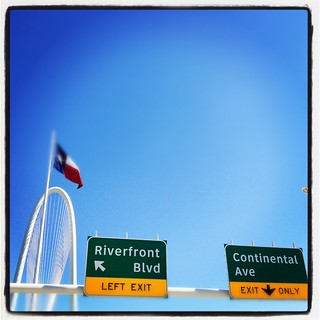 Riverfront Blvd Continental Ave Exit Sign Flag Architecture Margaret Hunt Hill Bridge Grand Opening Dallas Texas Santiago Calatrava IMG_5818-001 | by Dallas Photoworks
