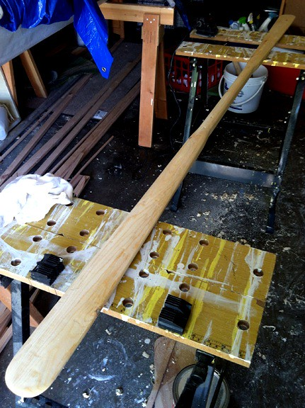 the greenland kayak paddle is nearly done