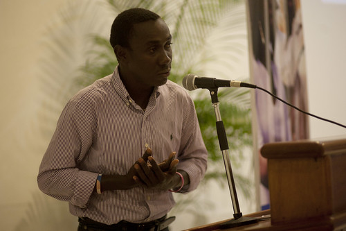 "Cine Institute Filmmaker Massena Cesar at the national screening of ""Haiti Rebuilds: A Journey of Hope"" 