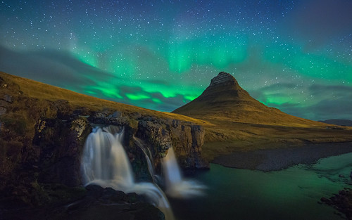 Kirkjufell night landscape with northern lights, Snæfellsnes, Iceland