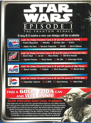 Pepsi Star Wars Episode I can list (1999) | by Paxton Holley