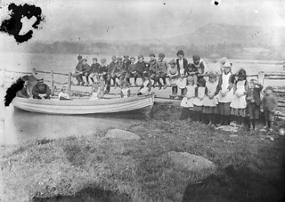 A group of children on the shores of Llyn Tegid | by LlGC ~ NLW